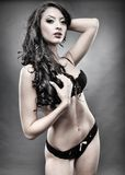 Sensual brunette wearing black lingerie Stock Photography