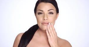 Sensual Brunette Woman in Beauty Shoot