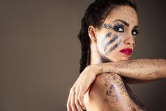 Sensual brunette woman with bright makeup Royalty Free Stock Image
