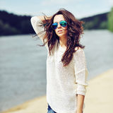 Sensual brunette woman outdoor fashion portrait Royalty Free Stock Images