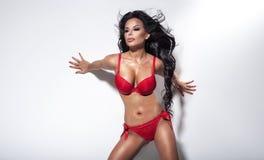 Sensual brunette woman posing in lingerie. Stock Image