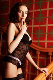 Sensual brunette woman wearing sexy black lingerie Royalty Free Stock Photos