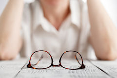 Sensual business woman with spectacles Stock Photography