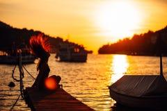 Sensual carefree summer woman enjoying vacation.Seaside stress less lifestyle.Fit traveler enjoying life.Full of energy.Energetic royalty free stock photography