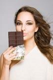 Sensual chocolate girl. Royalty Free Stock Photos
