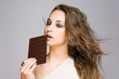 Sensual chocolate girl. Stock Images
