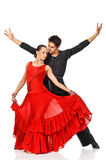 Sensual couple dancing salsa. Latino dancers in action. Royalty Free Stock Photos
