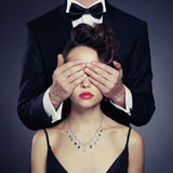 Sensual couple. Fashion photo of sexy elegant couple in the tender passion Stock Images