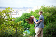 Sensual couple is hugging in park Stock Photography
