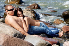 Sensual couple in jeans Royalty Free Stock Photos
