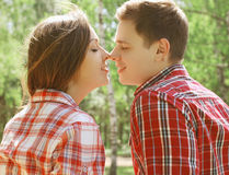 Sensual couple kissing Stock Images