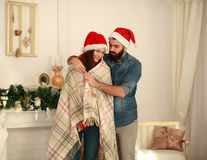 Sensual couple in love enjoy Christmas at home Stock Photo