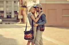 Sensual couple in love outdoor Stock Photos
