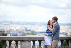 Sensual couple on Montmartre in Paris Royalty Free Stock Photo