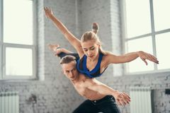 Sensual couple performing an artistic Royalty Free Stock Photography