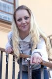 Sensual Cute Caucasian Female Posing on Stairs in The City royalty free stock photography