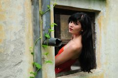 Beautiful young brunette woman in the window. Sensual and cute gypsy brunette woman in the window Stock Image