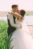 Sensual cute married couple at sunny day. In grass Royalty Free Stock Photos