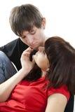 Sensual dialogue enamoured couple Royalty Free Stock Photo