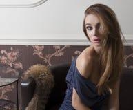 Sensual elegant girl indoor Royalty Free Stock Photography