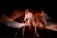 The sensual and emotional dance of beautiful ballerina Stock Images