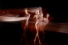 The sensual and emotional dance of beautiful ballerina Stock Photography