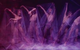 Sensual and emotional dance of beautiful ballerina Royalty Free Stock Photo