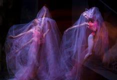 Sensual and emotional dance of beautiful ballerina Stock Photos
