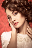 Sensual expressive model toned vintage image Stock Photos