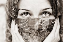 Sensual eyes of woman behind vail Royalty Free Stock Photography