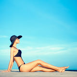 Sensual fashion girl on holiday Royalty Free Stock Photography