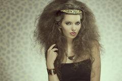 Sensual fashion girl with wild style Royalty Free Stock Image