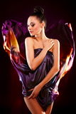 Sensual fashion brunette girl model posing Royalty Free Stock Photos
