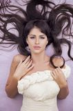 Sensual fashion woman. With beautiful long brown hairs Royalty Free Stock Images