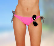 Sensual female body with pink bikini Stock Images