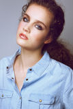 Sensual female fashion model in denim shirt Royalty Free Stock Photos