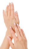 Sensual female hands isolated on white Royalty Free Stock Photos