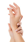 Sensual female hands isolated on white Royalty Free Stock Image