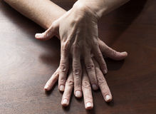 Sensual female hands touching together for confusion Stock Image