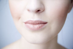 Sensual female lips closeup. Clean skin. Part face Royalty Free Stock Photography