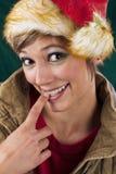 Sensual female Santa Claus stock image