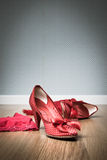 Sensual female shoes and lingerie Royalty Free Stock Images
