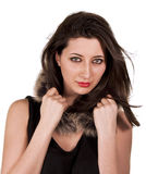Sensual girl. Beautiful young woman with fur scarf   isolated on white background Stock Photos