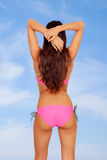 Sensual girl back with pink bikini Royalty Free Stock Photography
