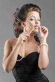 Sensual girl in balck corset Stock Photo