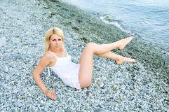 Sensual girl on the beach Royalty Free Stock Photos