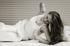 Sensual girl in the bedroom Royalty Free Stock Photos