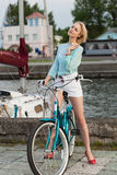 Sensual girl with bicycle Royalty Free Stock Photography