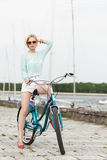 Sensual girl with bicycle Royalty Free Stock Photo