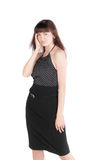 Sensual girl in a black dress Stock Photography